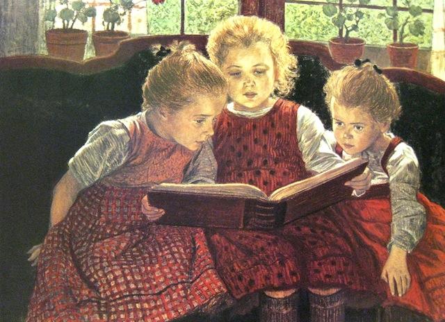 Gyerekek mesekönyvet olvasnak